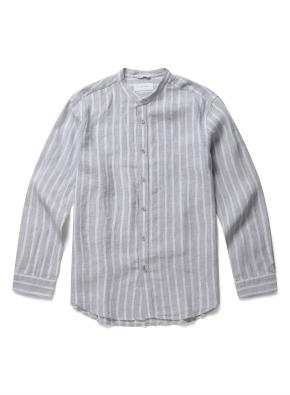 헨리넥 린넨 스트라이프 셔츠 (GR)