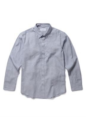 히든 버튼 카라 린넨 솔리드 셔츠 (LBL)