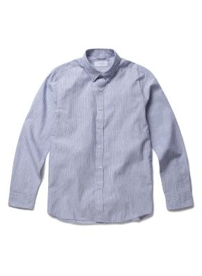 히든 버튼 카라 투톤 칼라 스트라이프 셔츠 (BL)