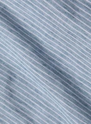 히든 버튼 카라 투톤 칼라 스트라이프 셔츠 (GN)