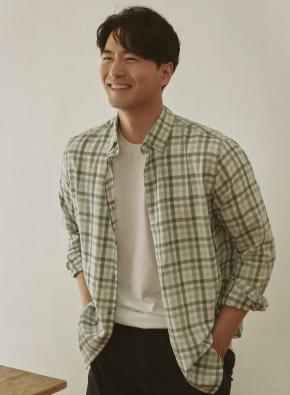 [20FW신상] 배색 체크 캐주얼셔츠