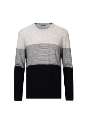 블록 스트라이프 울 스웨터 (NV)