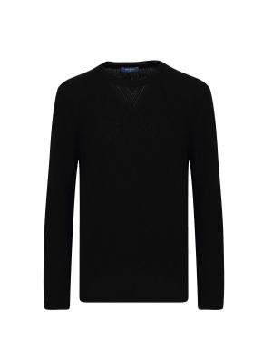 캐시미어 혼방 풀오버 라운드 스웨터 (BK)