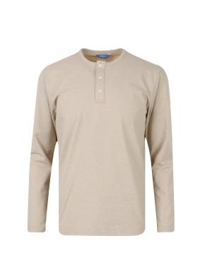 투 버튼 헨리넥 기본 티셔츠 (BE)