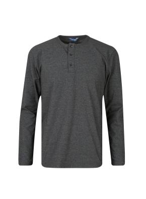 투 버튼 헨리넥 기본 티셔츠 (KH)