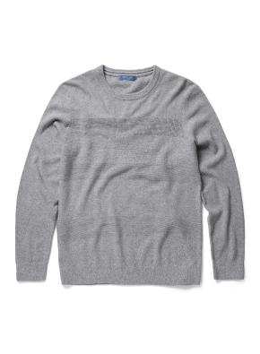 잔조직 라운드 풀오버 스웨터
