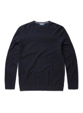 잔조직 라운드 풀오버 스웨터 (NV)