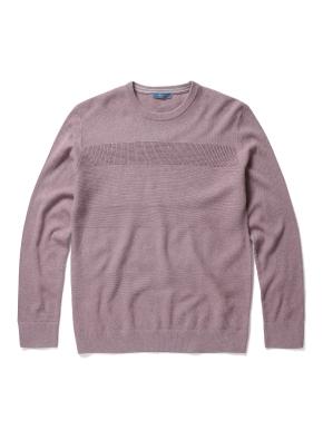 잔조직 라운드 풀오버 스웨터 (PK)