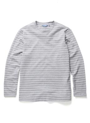 자카드 스트라이프 라운드 티셔츠