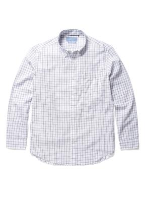 변형 윈도우페인체크 면 혼방 셔츠 (NV)