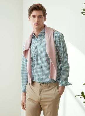 면 혼방 패턴 깅엄 체크 셔츠 (GN)
