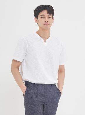 슬럽 실켓 변형 헨리넥 티셔츠 (WT)