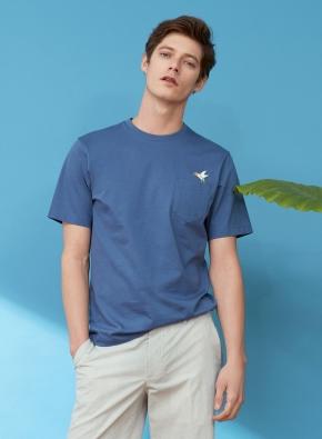 [Fairy pitta] 팔색조 프린트 포켓 티셔츠 (DBL)
