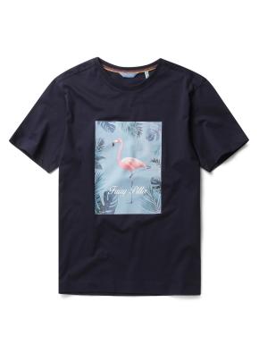 [Fairy pitta] 원포인트 패턴 라운드 티셔츠 (NV)