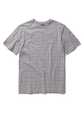 코튼 스트라이프 라운드 티셔츠 (GR)
