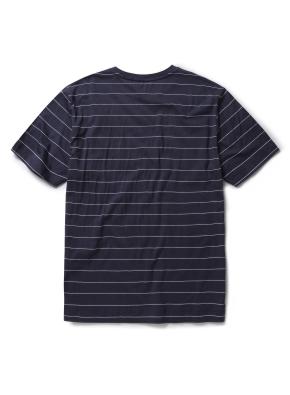 코튼 스트라이프 라운드 티셔츠 (NV)