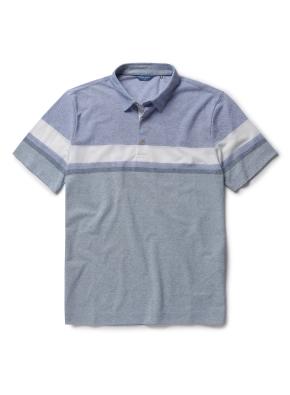 폴리 혼방 컬러 블록 카라 티셔츠 (BL)