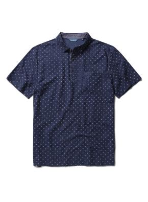 폴리 혼방 패턴 카라 티셔츠 (NV)