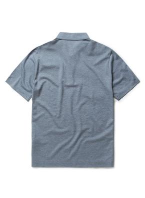 싱글 조직 배색 카라 티셔츠 (BL)