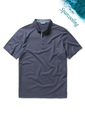 싱글 조직 배색 카라 티셔츠 (NV)