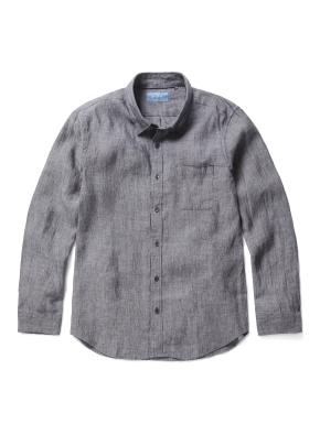 히든버튼 컬러 린넨 셔츠 (GR)
