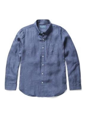 히든버튼 컬러 린넨 셔츠 (NV)