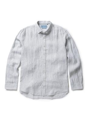 히든 버튼 스트라이프 패턴 셔츠 (GN)