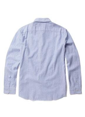 히든 버튼 카라 폴리 혼방 솔리드 셔츠