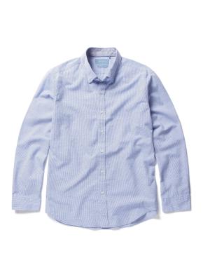 히든 버튼 카라 핀 체크 셔츠 (BL)