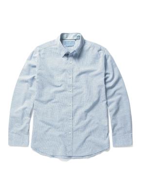 히든 버튼 카라 핀 체크 셔츠 (GN)