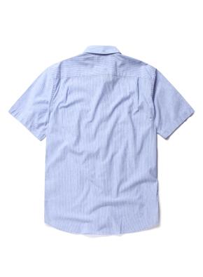 히든 버튼 카라 핀스트라이프 반팔 셔츠 (BL)