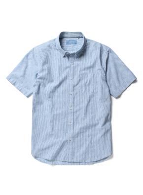 히든 버튼 카라 핀스트라이프 반팔 셔츠 (GN)