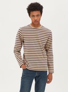 스트라이프 배색 라운드 티셔츠
