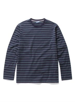 스트라이프 배색 라운드 티셔츠 (GN)