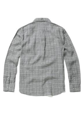 히든버튼 에어린넨 윈도우 페인 체크 셔츠