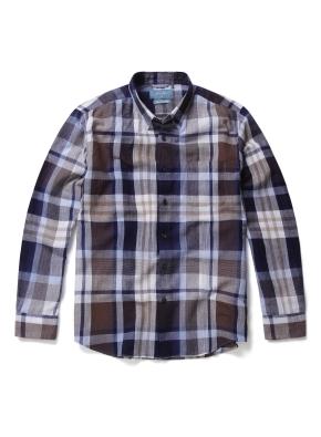 히든버튼 린넨 혼방 빅체크 패턴 셔츠