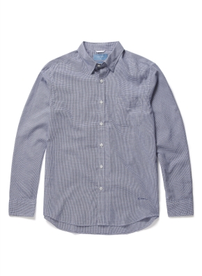 히든버튼 하운드 투스 패턴 셔츠 (BL)