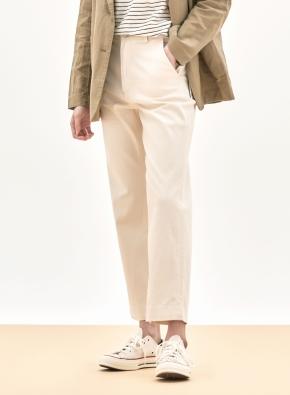 여성 코튼 스판 백밴딩 스트레이트 팬츠