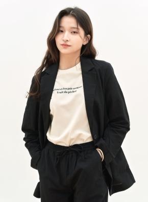 여성 면 그래픽 크루넥 반팔 티셔츠