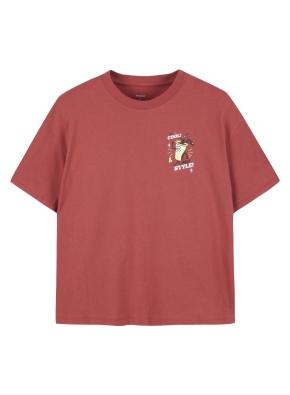 여성 핫섬머 그래픽 세미 크롭 반팔 티셔츠