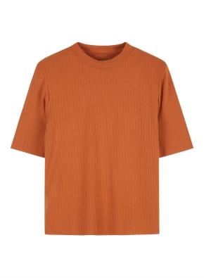 여성 레이온 스판 립 골지 반넥 티셔츠