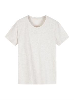 여성 슬럽 크루넥 솔리드 반팔 티셔츠