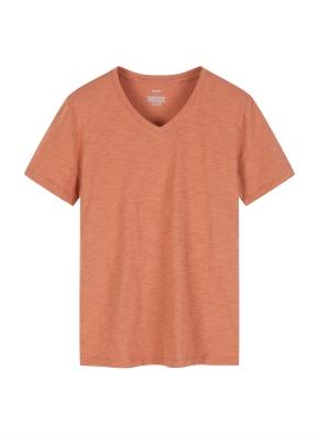 여성 슬럽 브이넥 솔리드 반팔 티셔츠
