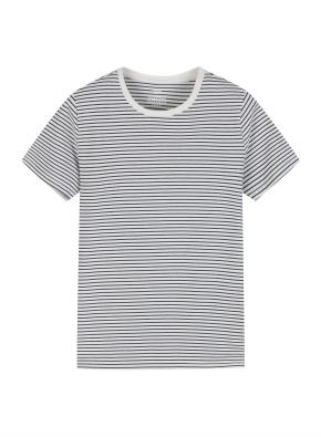 여성 크루넥 스트라이프 반팔 티셔츠