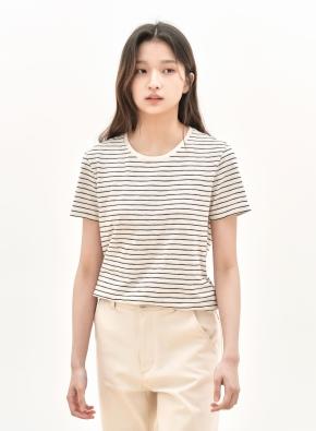 여성 슬럽 크루넥 스트라이프 반팔 티셔츠