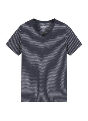 여성 슬럽 브이넥 스트라이프 반팔 티셔츠
