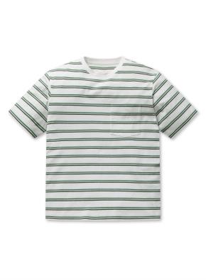 포켓 스트라이프 오버핏 반팔 티셔츠