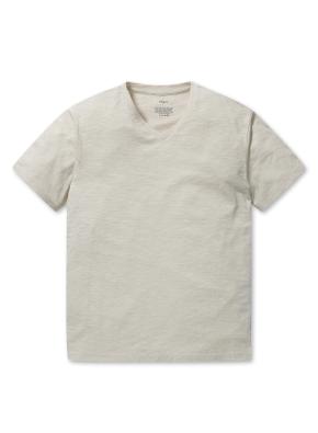 슬럽 브이넥 반팔 티셔츠