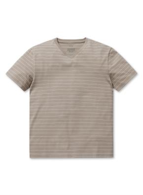 브이넥 스트라이프 반팔 티셔츠