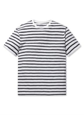 슬럽 크루넥 스트라이프 티셔츠